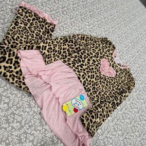 BNWT Sara's Prints PJs Cheetah Prints with Hearts